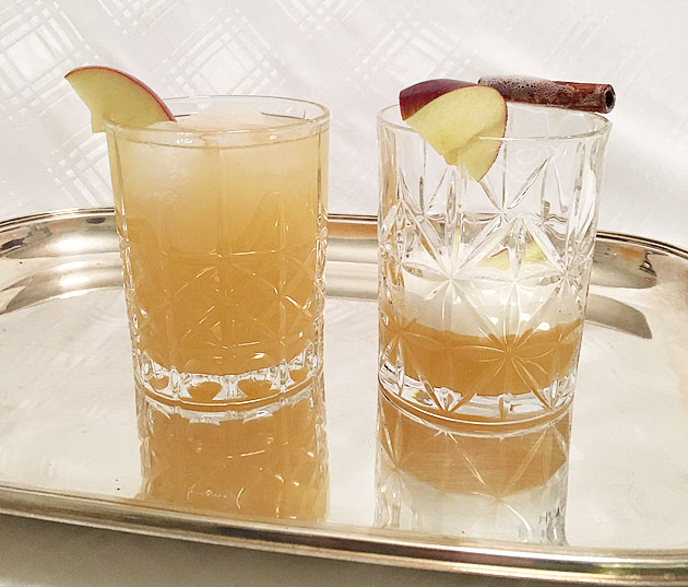Calvados drinkki ja alkoholiton omenajuoma