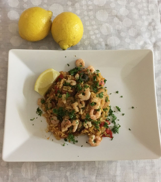 Chorizo-katkarapu-kanapaella