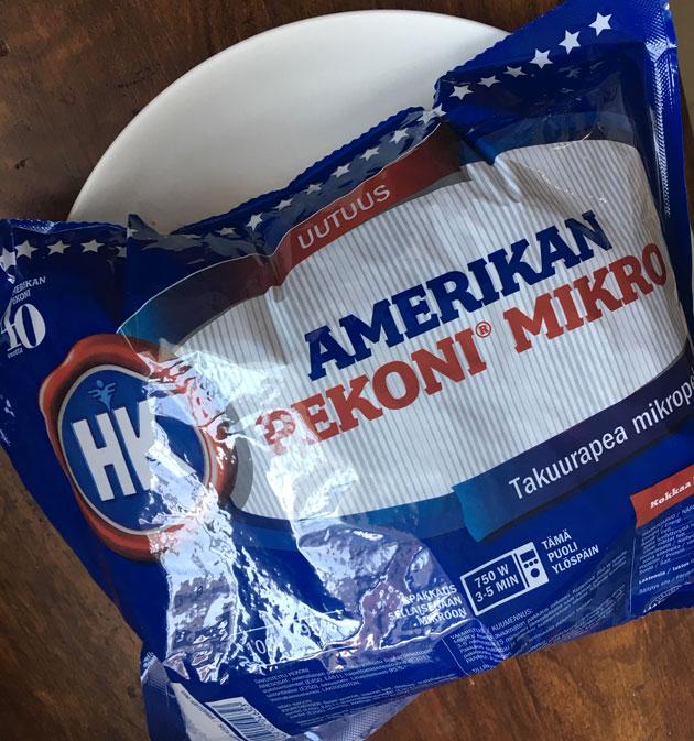 HK:n Amerikan mikropekonipaketti kypsennyksen jälkeen