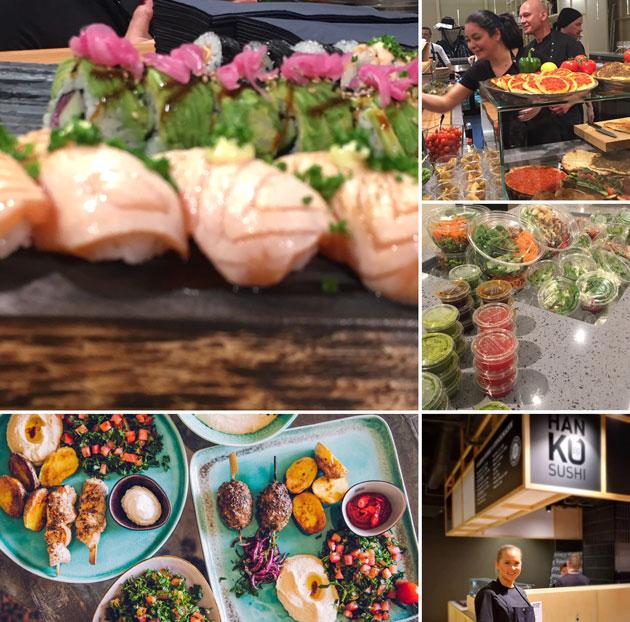 Stockmann, katutason uusien ravintolojen herkkuja, sushi, meze, salaatti